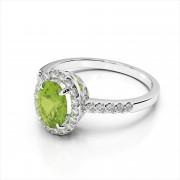 Oval 8x6mm Gemstone and Diamond Ring