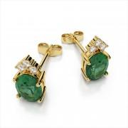 Oval Gemstone Stud Earrings with Diamonds