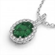 Oval 6x4mm Gemstone and Diamond Pendant