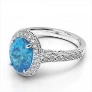 Oval 7x5mm Gemstone and Diamond Milgrain Ring