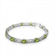Three Oval 6x4mm Gemstone Diamond Bracelet