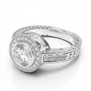 Antique Bezel Set Halo Engagement Ring