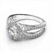 Round Halo Engagement Ring Rounded Split Shank