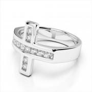 Channel Set Diamond Cross Ring