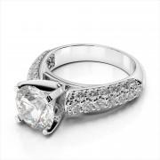 Triple Row Diamond Engagement Ring