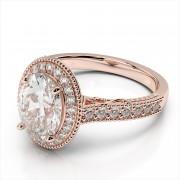 Oval 7x5mm Center Milgrain Engagement Ring