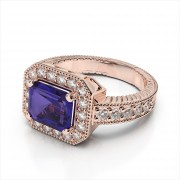 Octagon Gemstone and Round Diamond Ring