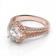 Diamond Halo Split Shank Engagement Ring