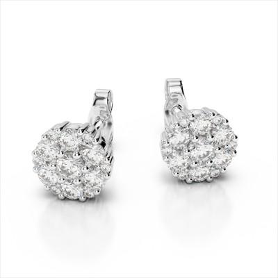 14k White Gold 2.00 Carat Captivating Diamond Cluster Earrings