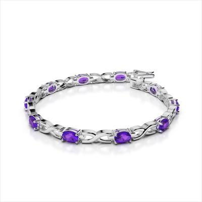 Wavy X 7x5mm Oval Gemstone Bracelet