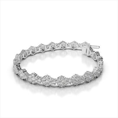 Cluster Flower Link Diamond Bracelet