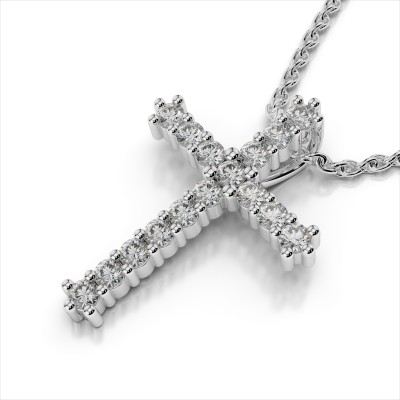 Shared Prong Diamond Cross