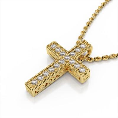 Small Milgrain Diamond Cross