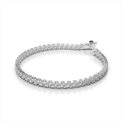 Diamond Checkerboard Two Row Bracelet
