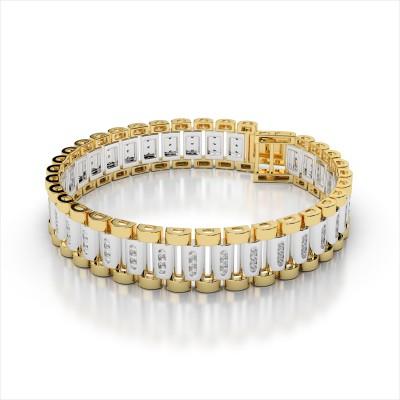 Three Diamond Bar Link Men's Bracelet