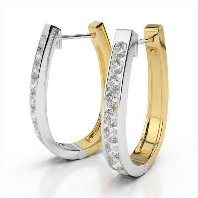 Oval Hinged Diamond Huggie Earring