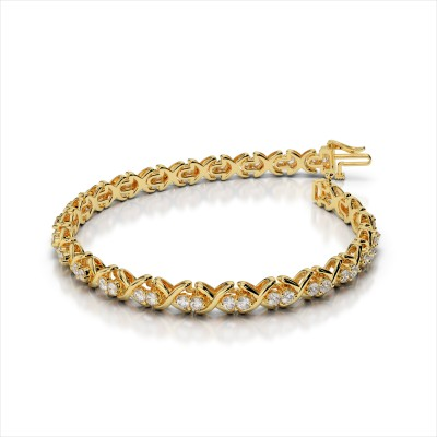 Double Diamond with 'X' Link Bracelet