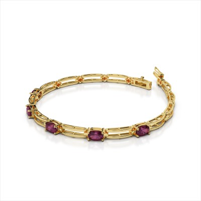 Five 5x3mm Oval Gemstone Double Bar Link Bracelet