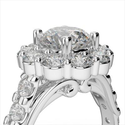 Diamond Halo Engagement Semi-Mount Ring