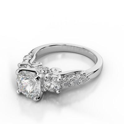 Designer Engagement Ring with Bezel Sides
