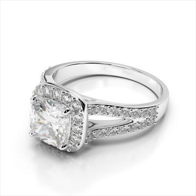 Cushion Halo & Split Shank Engagement Ring