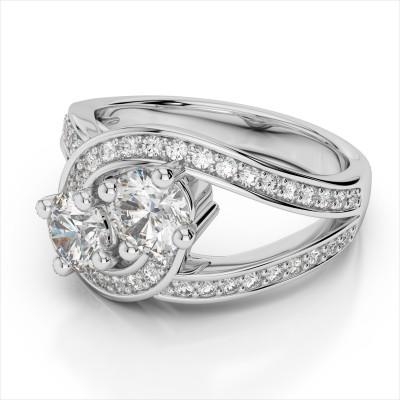 Elegant Two Diamond Bypass Ring