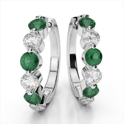 Diamond and Gemstone Hoop Earrings