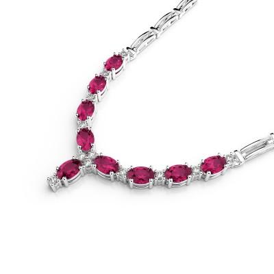 Diamond & Oval Gemstone Double Bar Necklace