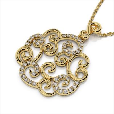 Fancy Diamond Scroll Pendant
