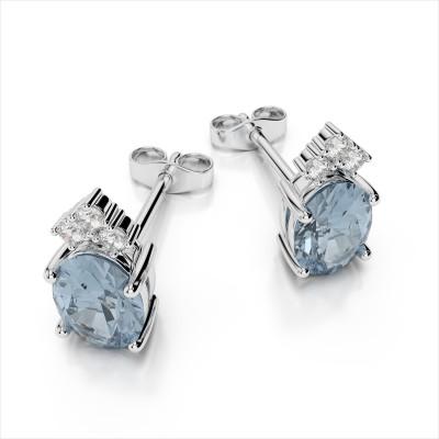 7x5mm Oval Gemstone Stud Earrings with Diamonds