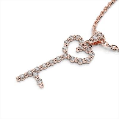 Diamond Studded Heart Key Pendant