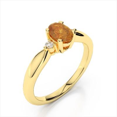 Diamond 6x4mm Oval Gemstone Ring