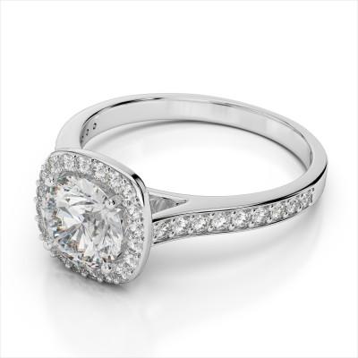 Cushion Halo Diamond Engagement Ring