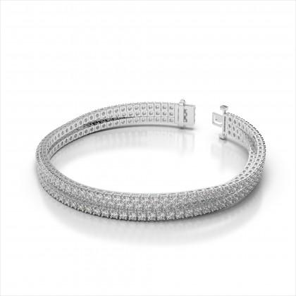Three Strand Flexible Diamond Tennis Bracelet