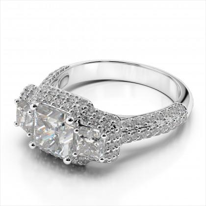 Princess Cut Diamond Double Halo Ring