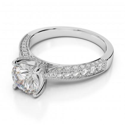 Classic Vintage Milgrain Engagement Ring