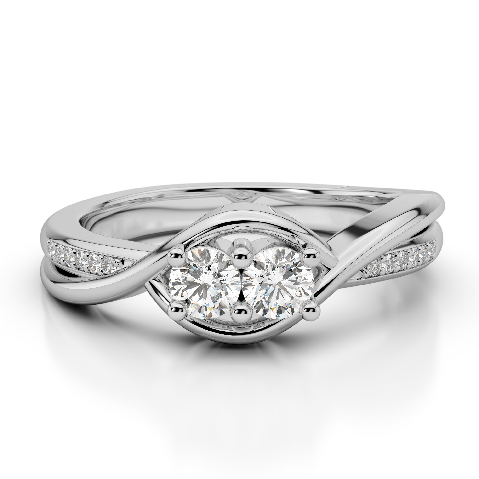 Curved Two Stone Diamond Ring