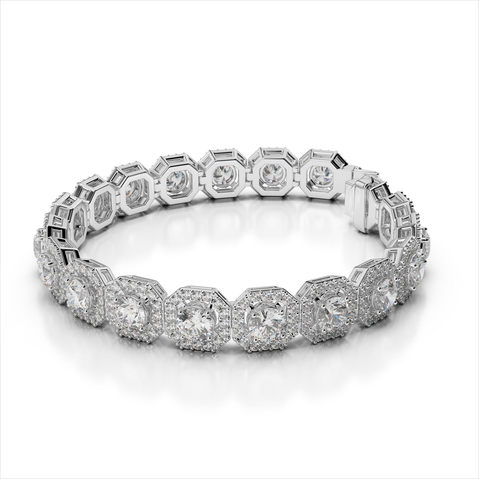 Diamond Octagon Box Link Bracelet