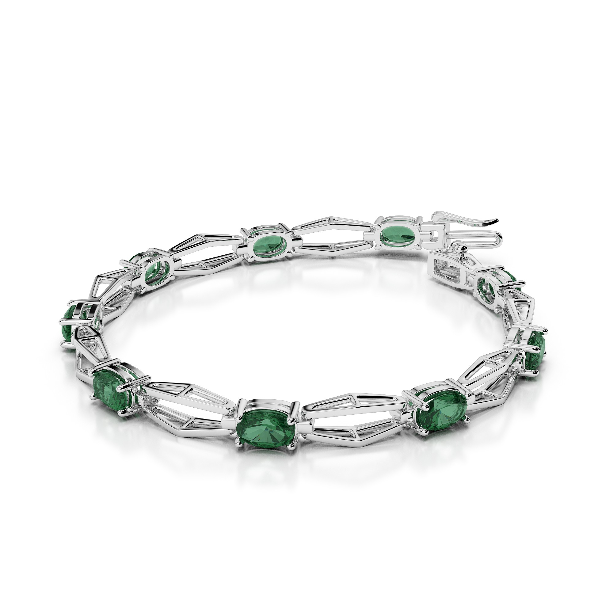 Hexagon Link Nine 7x5mm Gemstone Bracelet