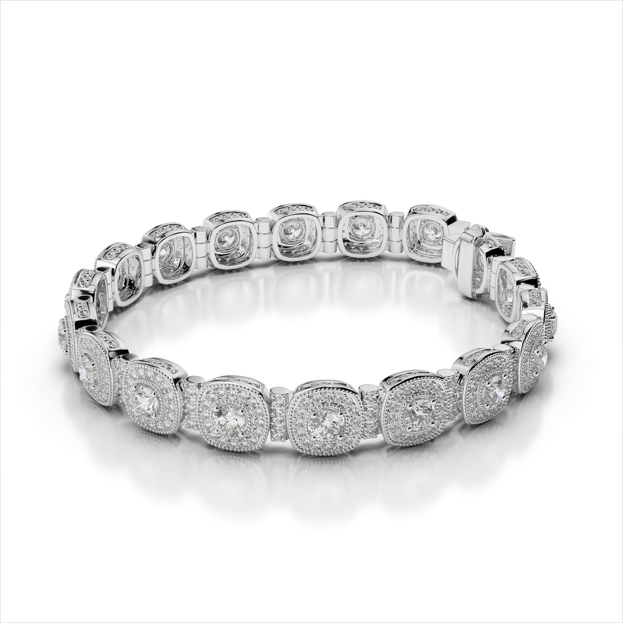 Diamond Halo Bracelet with Diamond Tube Links