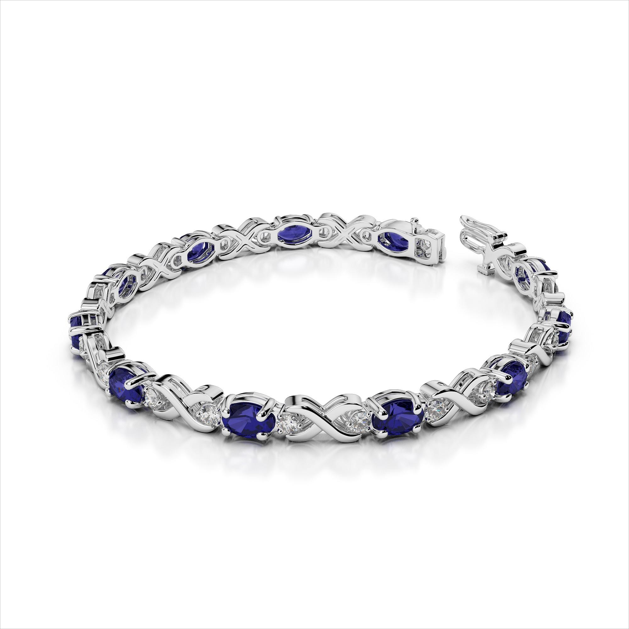 Diamond & Oval 6x4mm Gemstone X Link Bracelet