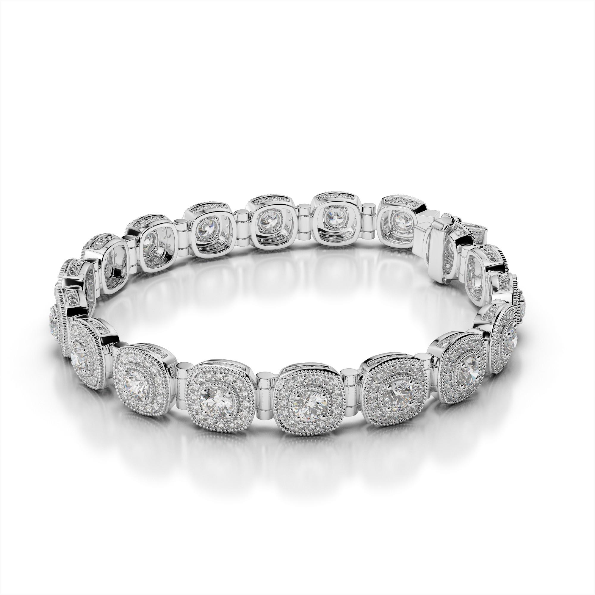 Diamond Halo Bracelet with Tube Links