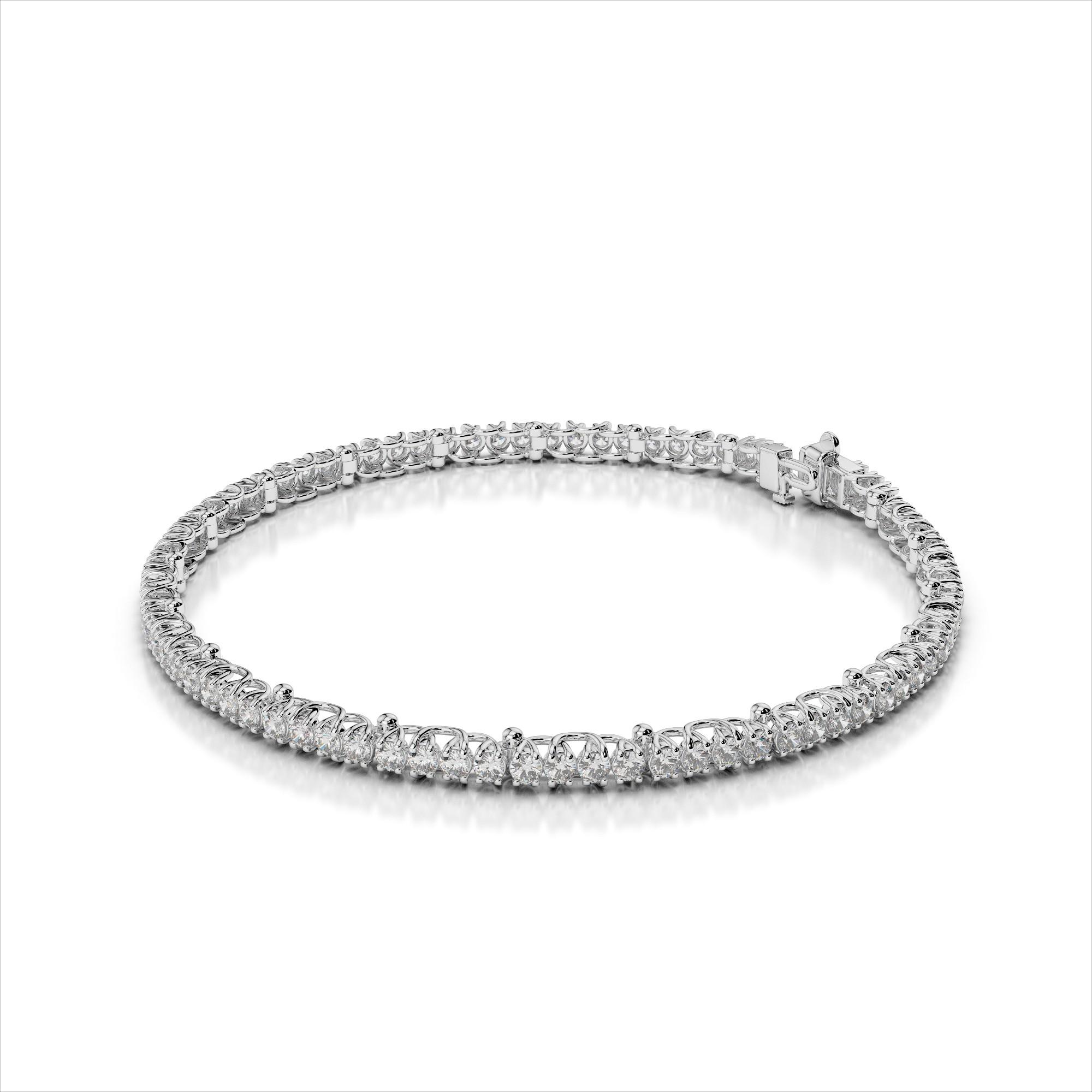 Diamond Bracelet with Trellis Shaped Prongs