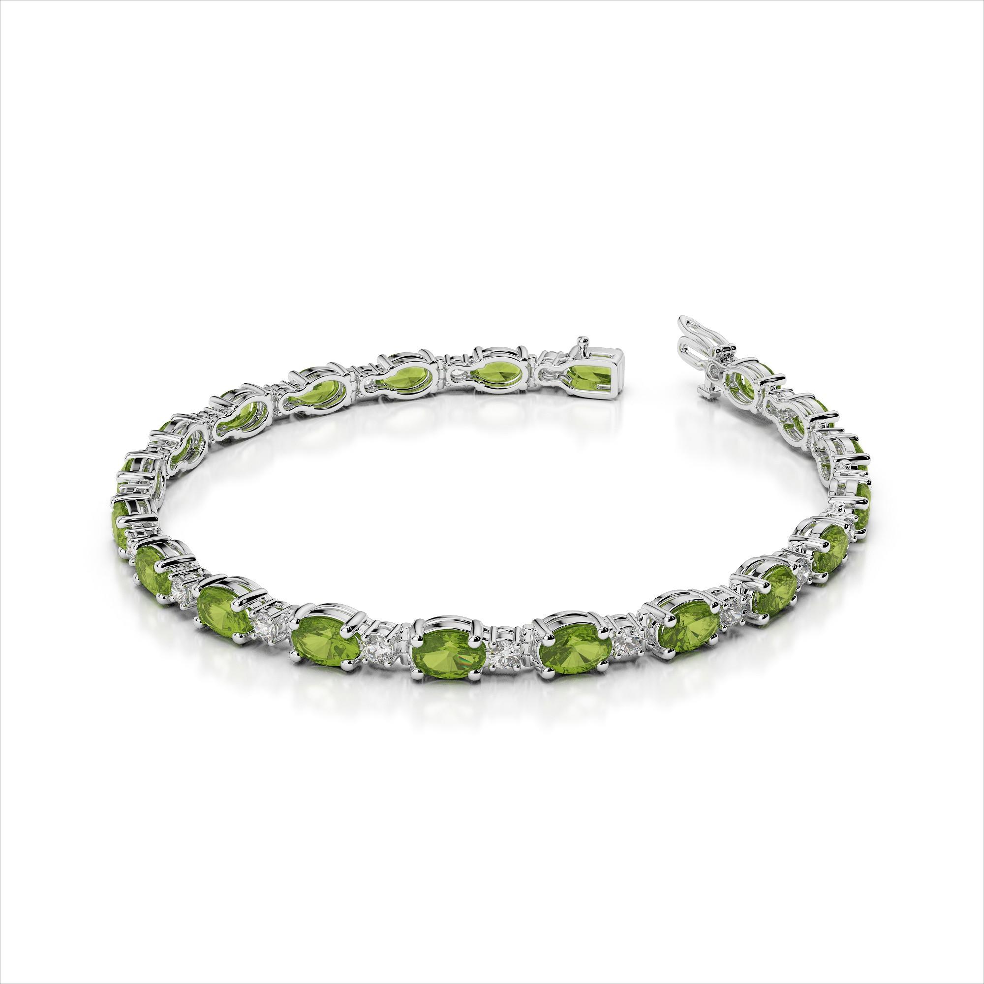 Single Diamond and 5x3mm Oval Gemstone Bracelet