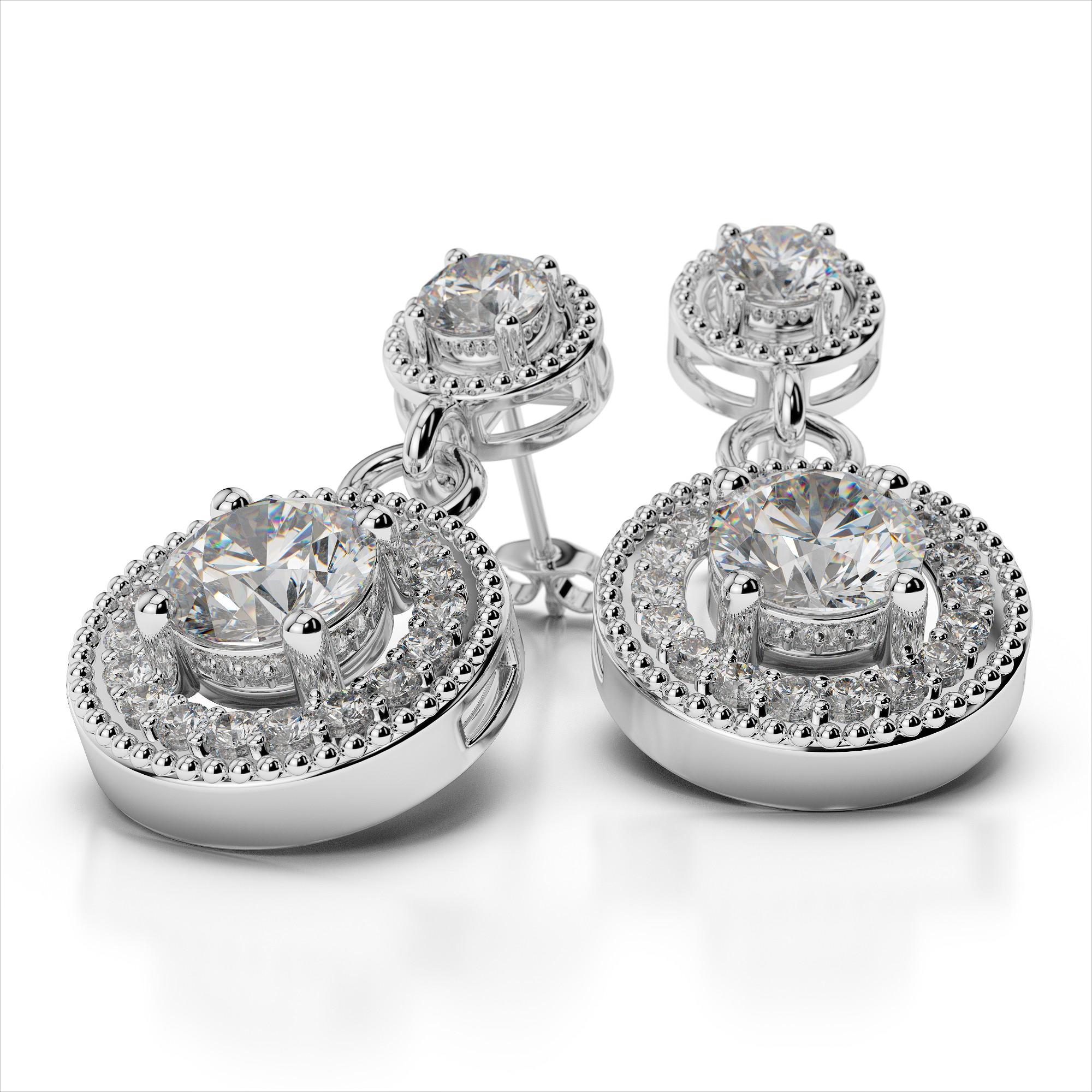 Double Round Drop Diamond Earrings