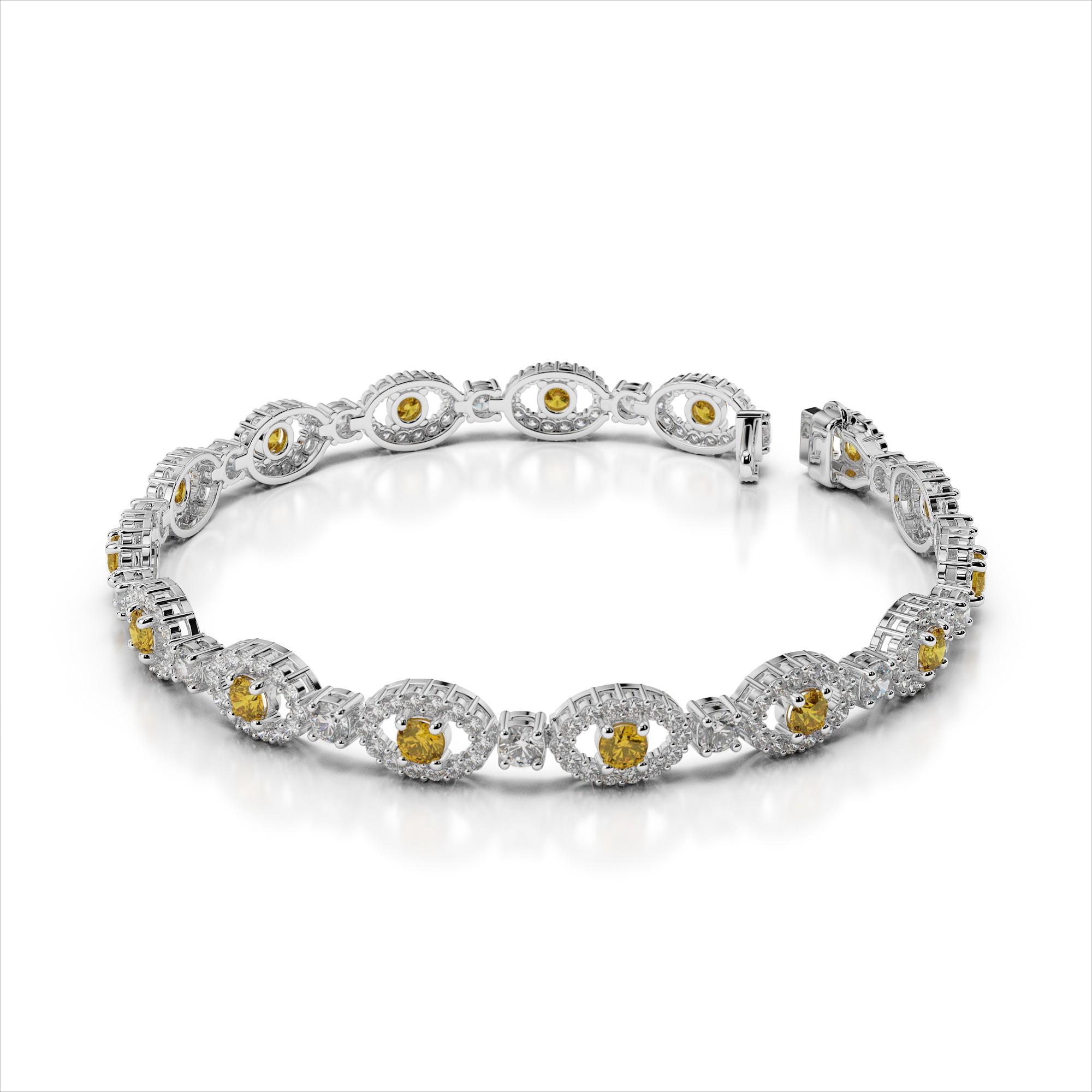 Oval Link Diamond & Gemstone Bracelet