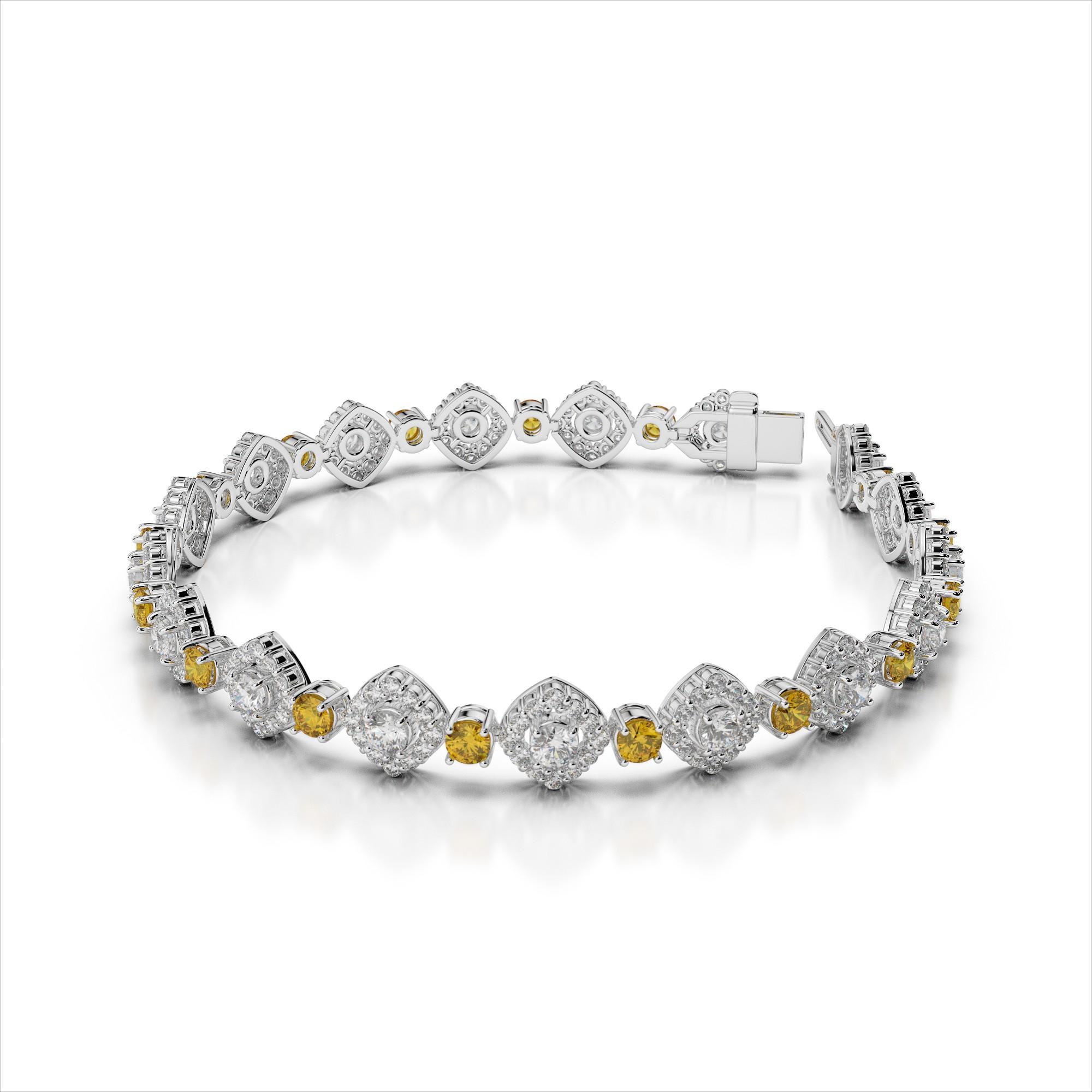 Diamond and Yellow Sapphire Link Bracelet
