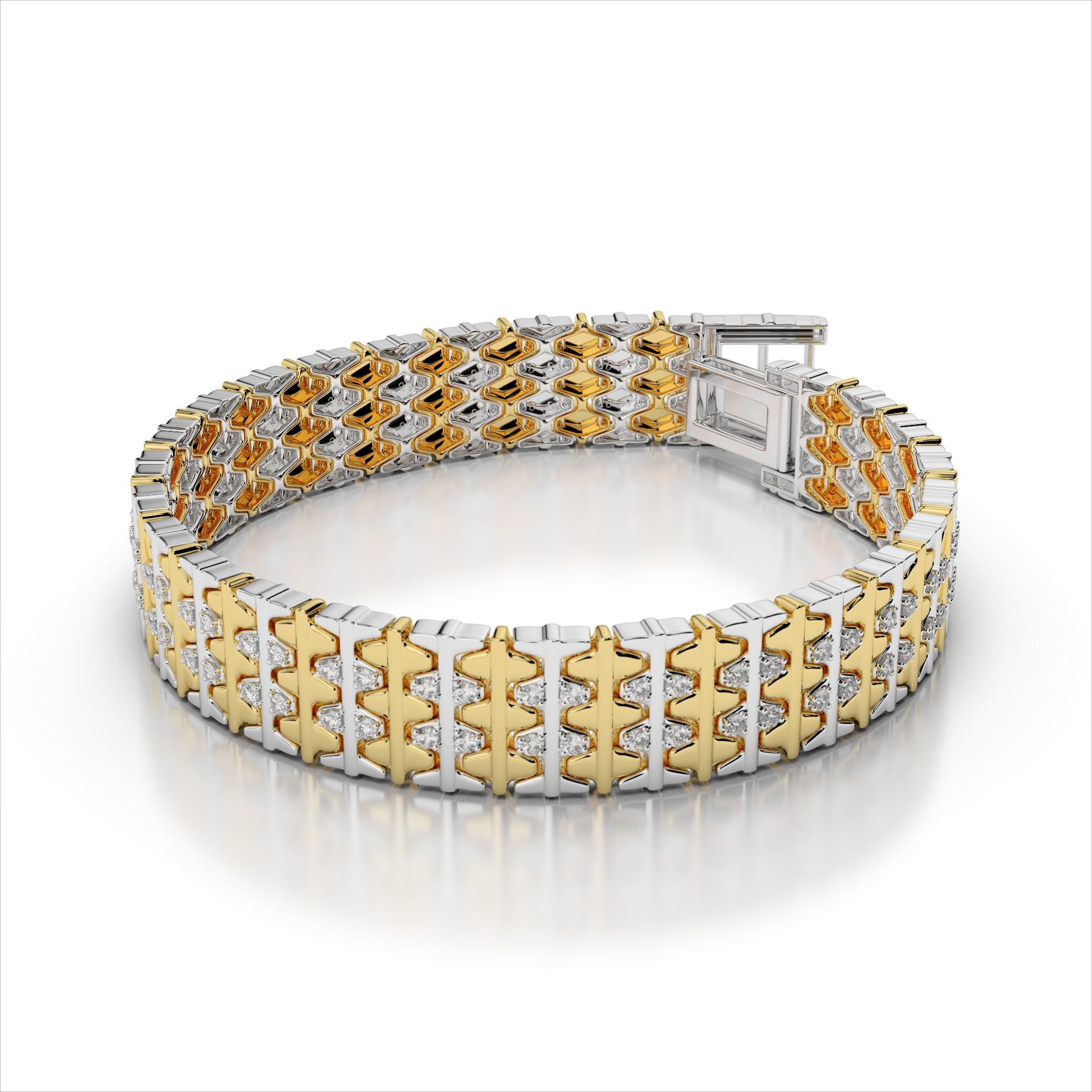 Men's Two-Tone Diamond Bracelet
