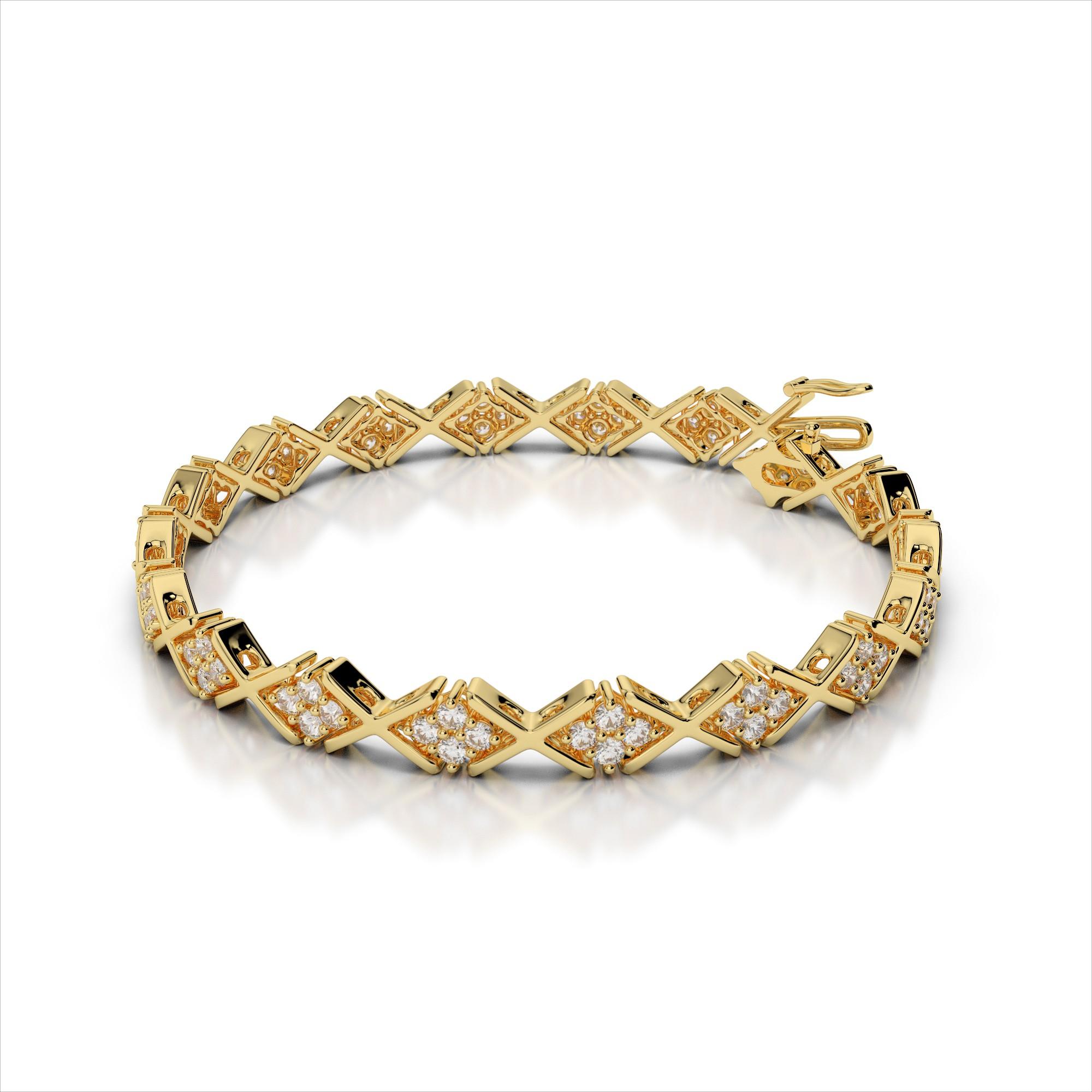 Four Diamond Cluster & ' X ' Link Bracelet