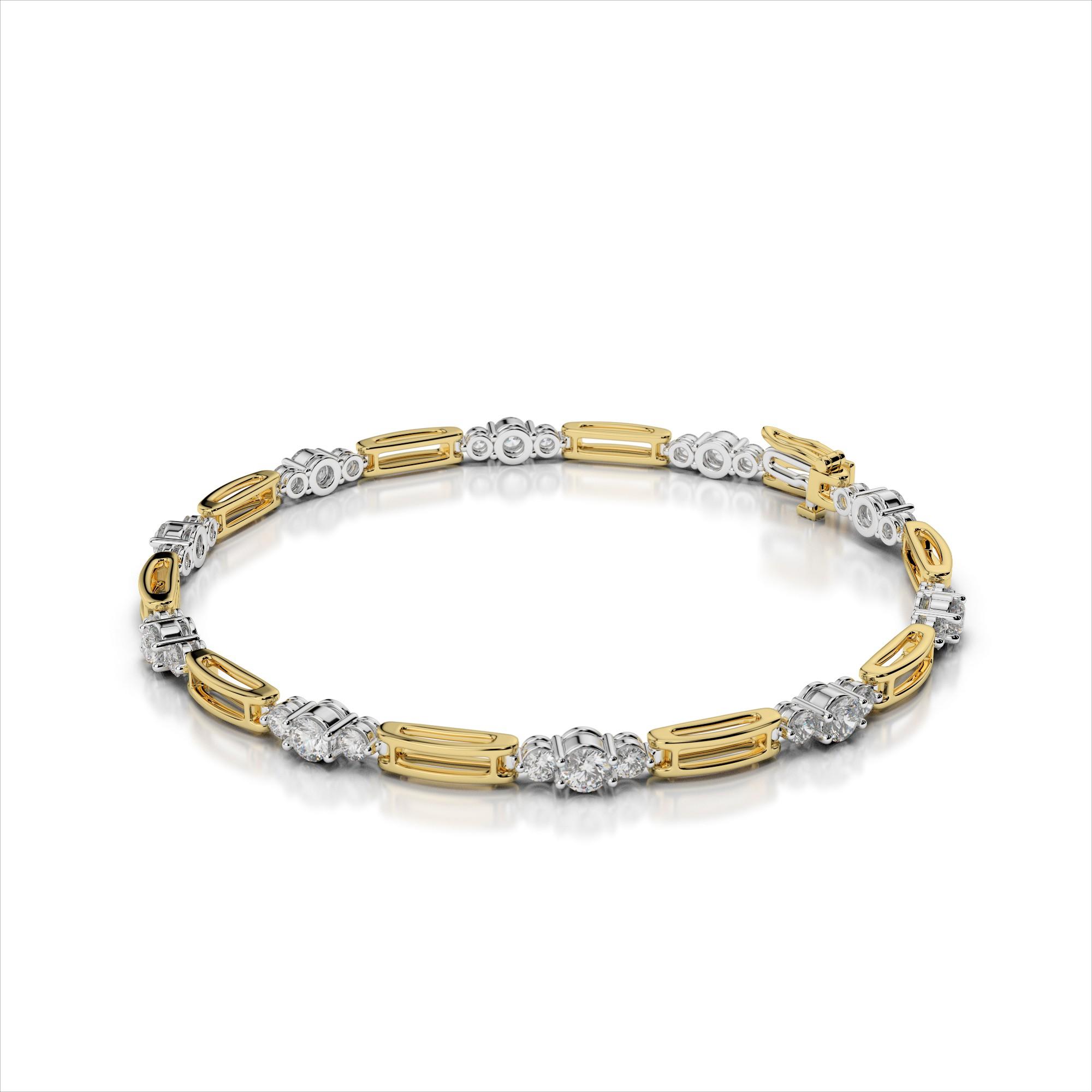 Three Stone Diamond Double Bar Link Bracelet